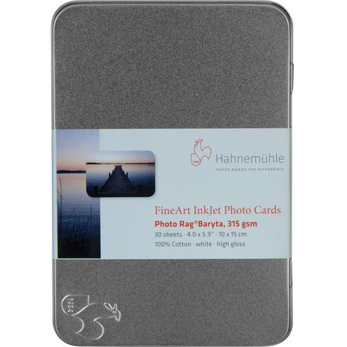 "Photo Rag® Baryta (30) 4""x 6"" Cards Rounded Corner Tin Box"