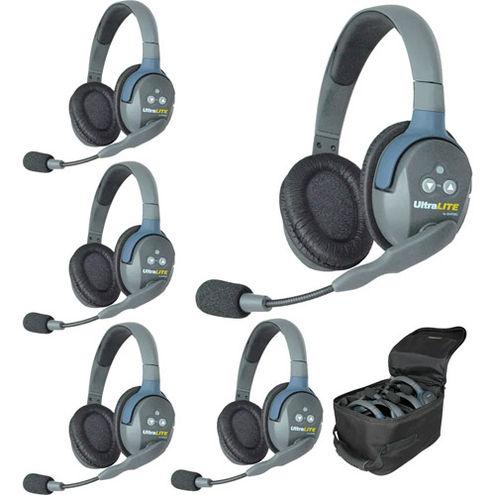 UL5D UltraLITE 5 person system w/ 5 Double Headset Batteries, Charger & Case (Double)