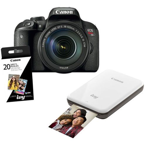 EOS Rebel T7i Kit w/EF-S 18-135mm f/3.5-5.6 IS STM  w/ IVY Printer & ZINK 2 x 3 - 20 PK (Slate Grey)