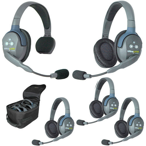UL514 UltraLITE 5 Person System w/ 1 Single 4 Double Headsets, Batteries, Charger & Case