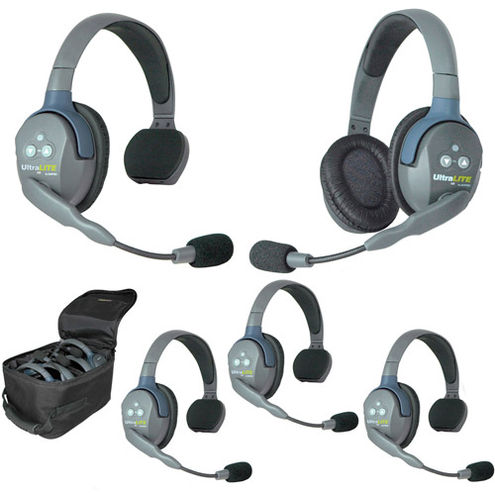 UL541 UltraLITE 5 Person System w/ 4 Single 1 Double Headsets, Batteries, Charger & Case