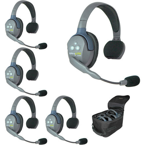 UL5s UltraLITE 5 Person System w/ 5 Single Headsets, Batteries, Charger & Case
