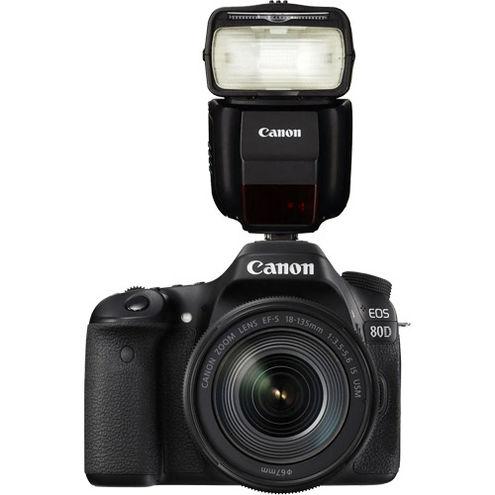 EOS 80D with  EF-S18-135mm f/3.5-5.6 IS USM Lens w/ Speedlite 430EX III-RT