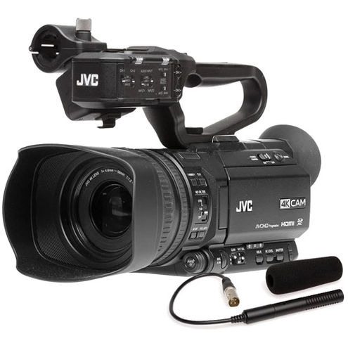 GY-HM180U 4KCam Compact Handheld Camcorder w/ Integrated 12X Lens w/ Free QAN0067-003 Mic