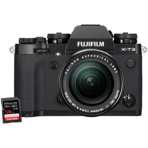 X-T3 Mirrorless Kit Black w/18-55mm & Extreme Pro 128GB SDXC UHS-I Card