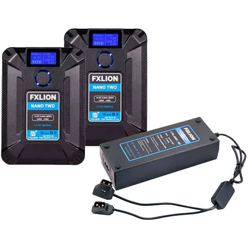 2 x Nano Two V-lock Battery 14.8V,98wh | D-tap with 1 x Two D-tap Fast Charger 16.8V/4A