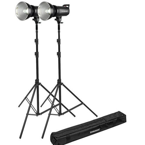 2 x SKII Flash 2.4G Built-in Receiver, 400Ws with 2 x 85-235cm Stands, 1 x Carrying Bag