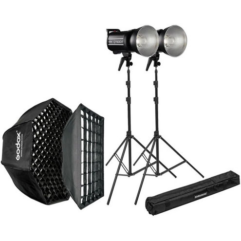 2 x QTII Flash 2.4G 600Ws with  60x60cm Softbox, 95cm Octa Softbox, 2 x 85-235cm Stands and Bags
