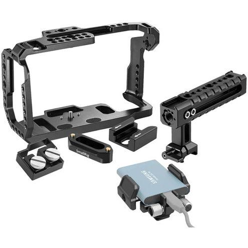 Cage Kit for Blackmagic Design Pocket Cinema 4K & 6K with Holder for External SSD, Handle, Rail