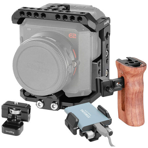 Cage Kit for ZCam E2 Camera with Wooden NATO Side Handle, Swivel and Tilt Monitor Mount, SSD Holder