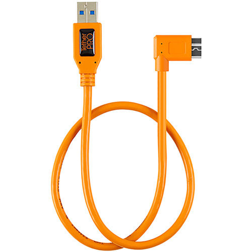 "USB 3.0 to USB 3.0 Micro-B Right Angle Adapter ""Pigtail"", 20"" , High-Visibilty Orange"
