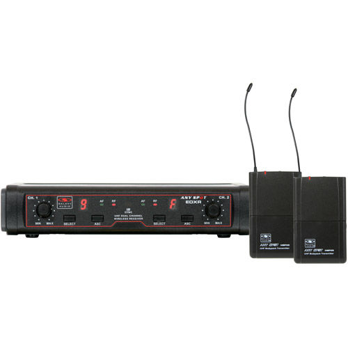 EDXR/38HS Wireless Microphone System: Includes 1 EDXR Dual Receiver, 2 MBP38 Beltpack Transmitter