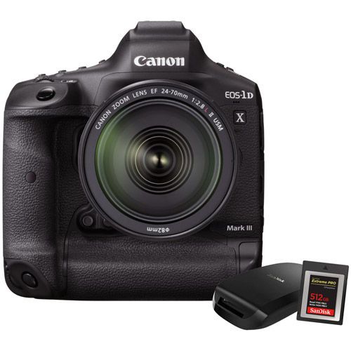EOS 1DX Mark III Body With 512GB CF Express Card, CF Express Reader.