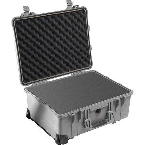 1560 Case Silver w/Foam w/Retractable Handle & Wheels