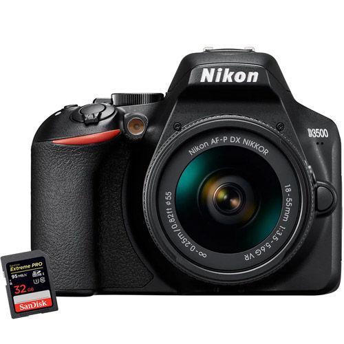 D3500 Kit w/ AF-P DX NIKKOR 18-55mm VR Lens & Extreme Pro 32GB SDHC Card
