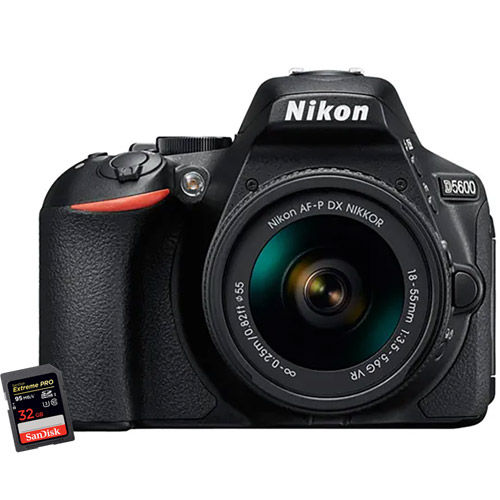 Nikon D5600 Kit w/ AF-P DX NIKKOR 18-55mm VR Lens & Extreme Pro 32GB SDHC Card
