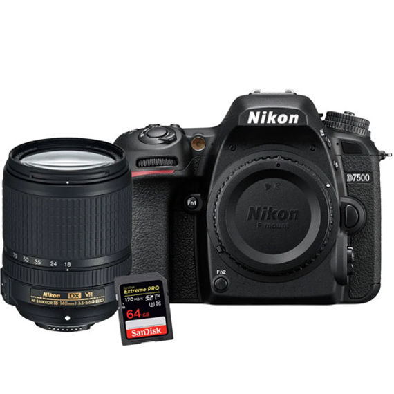 Nikon D7500 Kit w/ AF-S DX NIKKOR 18-140mm VR Lens & Extreme Pro 64GB SDXC Card