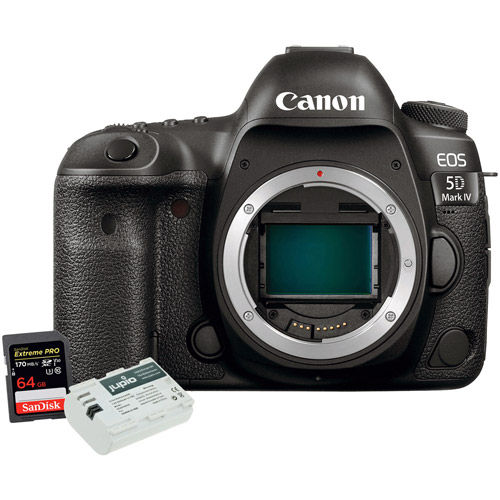 EOS 5D Mark IV DSLR Body With 64GB SDXC Card and Jupio LP-E6N Battery