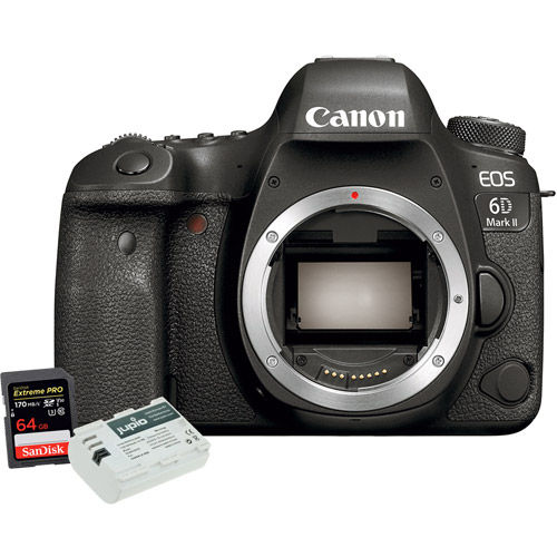 EOS 6D Mark II Body With 64GB SDXC Card and Jupio LP-E6N Battery