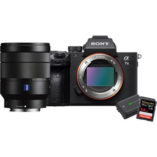Sony Alpha A7III Mirrorless Body w/ FE 24-70mm f/4.0, 2 x Extreme Pro 64GB SDXC UHS-I & NPFZ100 Battery