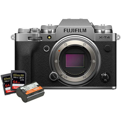 X-T4 Mirrorless Body Silver, NP-W235 Battery,2 x  Extreme Pro 64GB SDXC UHS-I Cards