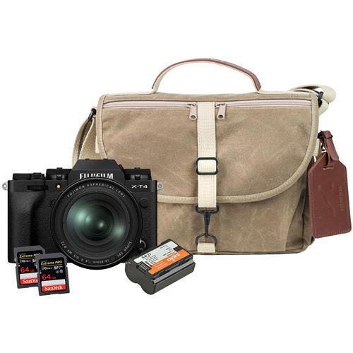 X-T4 Mirrorless Kit Black w/ XF 16-80mm, Domke Bag, Battery, 2 x Extreme Pro 64GB Cards