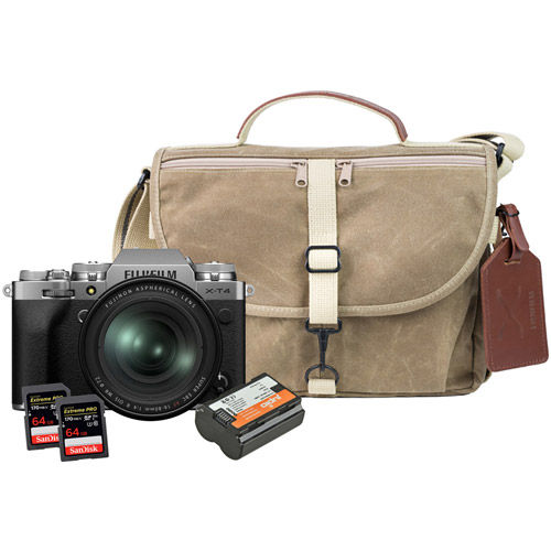 X-T4 Mirrorless Kit Silver w/ XF 16-80mm, Domke Bag, Battery, 2 x Extreme Pro 64GB Cards