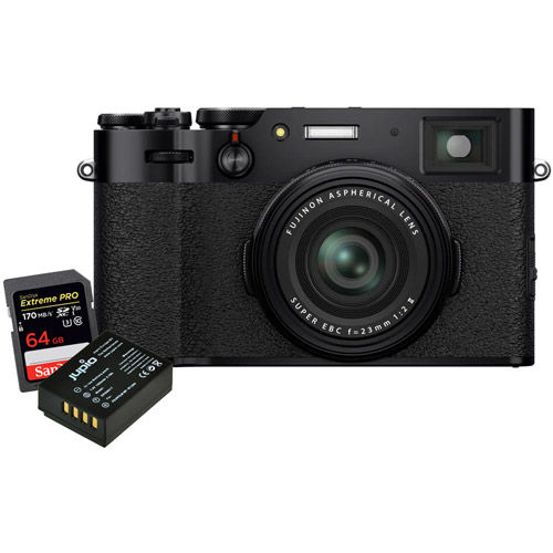 X100V Black, NP-W126S Battery, Extreme Pro 64GB SDXC UHS-I Card