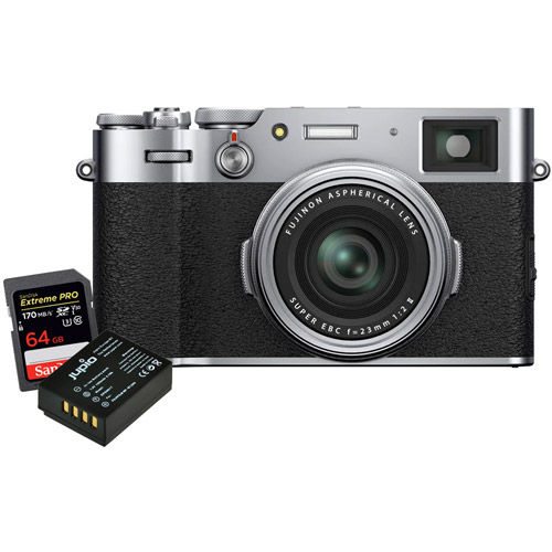 X100V Silver, NP-W126S Battery, Extreme Pro 64GB SDXC UHS-I Card