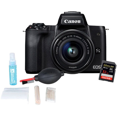 EOS M50 Mirrorless Camera w/ EF-M 15-45mm with 32GB SDHC Card and Cleaning Kit