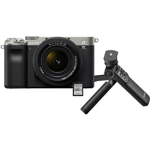 Image of Sony Alpha A7C Mirrorless Kit Silver w/ FE 28-60mm f/4.0-5.6 Lens & Vlogger Accessory Kit
