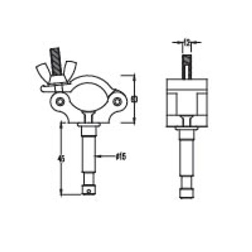 KCP-836 Half Coupler with Stud - Silver