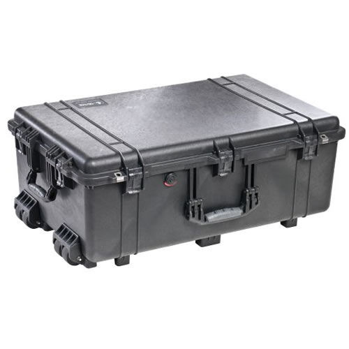 1650 Case Black w/Dividers w/Retractable Handle & Wheels