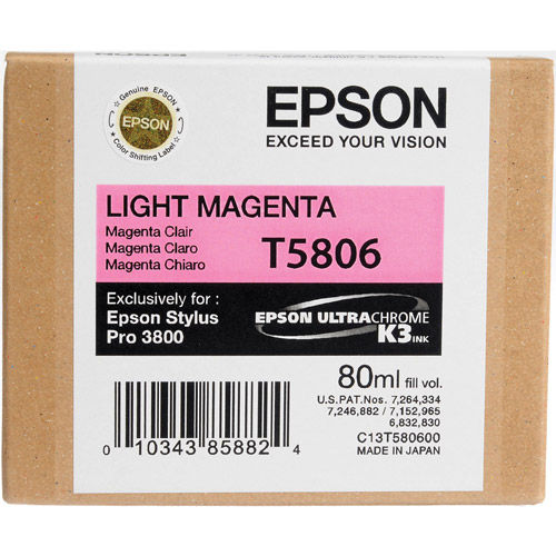 T580600 Lt Magenta UltraChrome 80ml Stylus Pro 3800