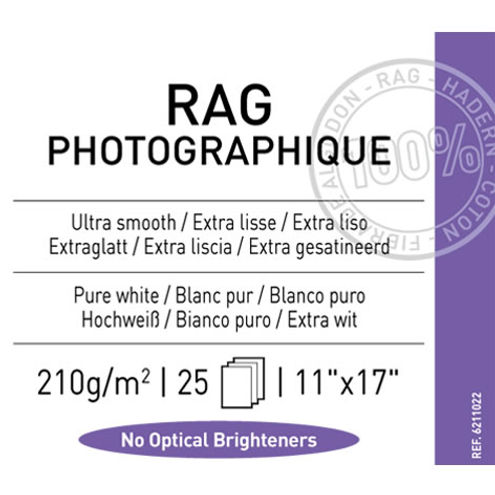 "11""x17"" Rag Photographique Smooth 210gsm 25 Sheets"