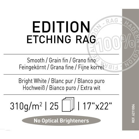 "17""x22"" Edition Etching Rag Smooth 310gsm 25 Sheets"