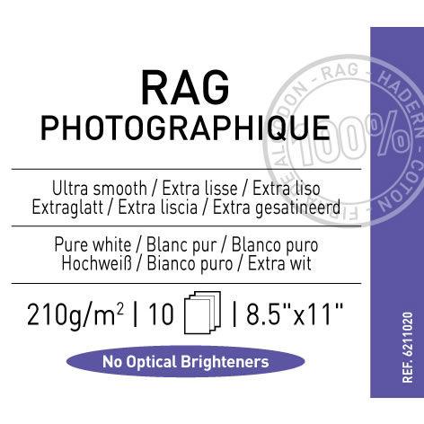"8.5""x11"" Rag Photographique Smooth 210gsm 10 Sheets"