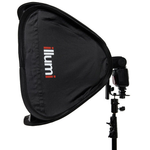 "15"" x 15"" (40 cm x 40 cm) Speedlight Collapsible Softbox - Silver with Tilthead Bracket"