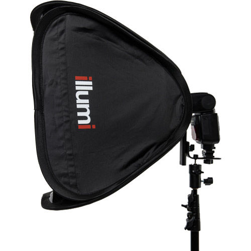 """19"""" x 19"""" (50 cm x 50 cm )  Speedlight Collapsible Softbox -  Silver with Tilthead Bracket"""