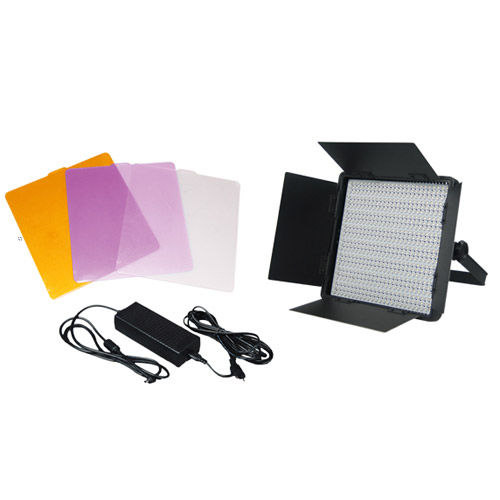 CN-600SA LED Video Light 5600K with V Plate and Barndoors Diffuser  DC Adapter, 3200K & Green minu