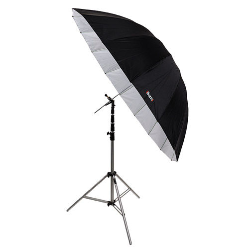 "72"" Parabolic Umbrella - Black/White"