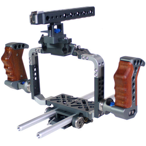 C4 Lux Camera Cage for Blackmagic Cinema Camera (with wooden handles)