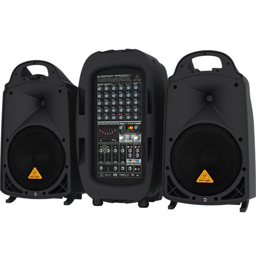 2000-Watt 8 Channel Portable PA System w/ Bluetooth, Wireless Mic Option, Processor and FBQ