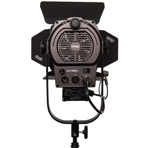 LG-100FDA LED Fresnel Light 5600K with DMX, Barndoors and Mounting Yoke