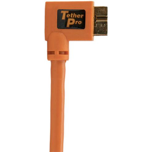 TetherPro USB 3.0 Male to Micro-B, RightAngle Orange 15'