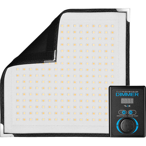 Flex 1x1 Bi-Color Set with LED Panel X-Bracket Mount, 1/4 Stop Front Difussion Panel