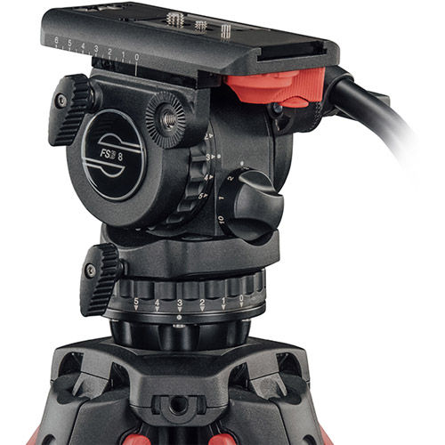 System FSB 8 T Fluid Head With Flowtech 75 Tripod, Mid-Level Spreader, Rubber Feet And Bag