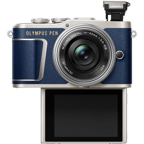 PEN E-PL9 Mirrorless Denim Blue Kit w/ 14-42mm EZ Lens(inc Bag, 16GB Class 10 SD Card, Camera Strap)