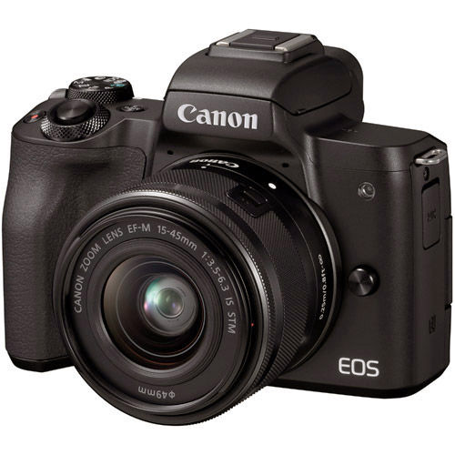 EOS M50 w/ EF-M 15-45mm With 128GB Memory Card, LP-E12 Battery And Wrist Strap