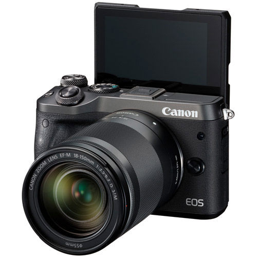EOS M6 Kit w/ EF-M 18-150mm f/3.5-6.3 IS STM Black ,EF-M 28mm f/3.5 Macro IS STM Lens, EVF And Strap